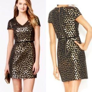kensie Cap-Sleeve Metallic-Flecked dress small